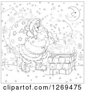 Clipart Of A Black And White Santa Carrying A Sack And Walking On A Roof On A Snowy Christmas Eve Night Royalty Free Vector Illustration