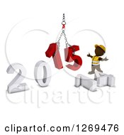 Clipart Of A 3d Brown Man Construction Worker Directing A New Year 2015 Hoist Royalty Free Illustration