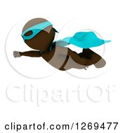 Clipart Of A 3d Brown Man Super Hero Flying Royalty Free Illustration