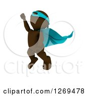 Clipart Of A 3d Brown Man Super Hero Flying Upwards Royalty Free Illustration