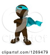 Clipart Of A 3d Brown Man Super Hero Royalty Free Illustration