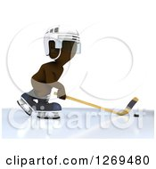 Clipart Of A 3d White Man Sliding A Stick At A Hockey Puck Royalty Free Illustration by KJ Pargeter