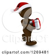 Clipart Of A 3d Brown Man Wearing A Santa Hat And Carrying A Christmas Gift Royalty Free Illustration