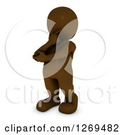 Clipart Of A 3d Brown Man Rubbing His Chin And Thinking Royalty Free Illustration by KJ Pargeter