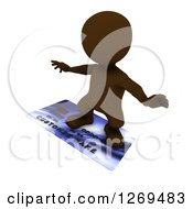 Clipart Of A 3d Brown Man Surfing On A Giant Credit Card Royalty Free Illustration by KJ Pargeter