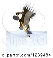 Clipart Of A 3d White Man Whacking A Hockey Puck Royalty Free Illustration