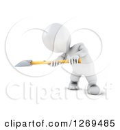 Clipart Of A 3d White Man Swinging An Axe Royalty Free Illustration