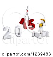 Clipart Of A 3d White Man Construction Worker Directing A New Year 2015 Hoist Royalty Free Illustration