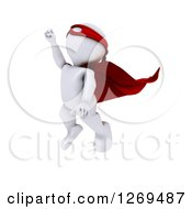 3d White Man Super Hero Flying Upwards