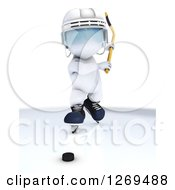 Clipart Of A 3d White Man Swinging A Stick At A Hockey Puck Royalty Free Illustration