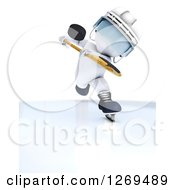 3d White Man With A Hockey Puck In The Air