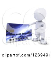 3d White Man Presenting A Giant Credit Card