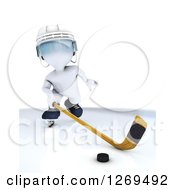 Clipart Of A 3d White Man Sliding A Stick At A Hockey Puck Royalty Free Illustration