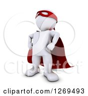 Clipart Of A 3d White Man Super Hero Royalty Free Illustration