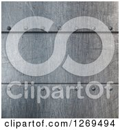 Clipart Of A 3d Scratched Metal Background With Screws Royalty Free Illustration