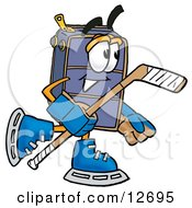 Suitcase Cartoon Character Playing Ice Hockey