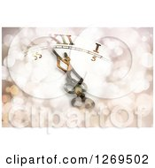 Clipart Of A New Year Background Showing A Clock Face At Almost Midnight With Flares Royalty Free Illustration