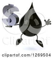 Clipart Of A 3d Oil Drop Character Jumping And Holding A Dollar Symbol Royalty Free Illustration by Julos