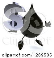 Clipart Of A 3d Oil Drop Character Facing Right And Jumping With A Dollar Symbol Royalty Free Illustration