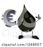 Clipart Of A 3d Oil Drop Character Holding Up A Finger And A Euro Symbol Royalty Free Illustration