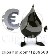 Clipart Of A 3d Oil Drop Character Holding A Thumb Down And A Euro Symbol Royalty Free Illustration