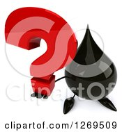 Clipart Of A 3d Oil Drop Character Holding Up A Question Mark Royalty Free Illustration