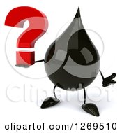 Clipart Of A 3d Oil Drop Character Shrugging And Holding A Question Mark Royalty Free Illustration