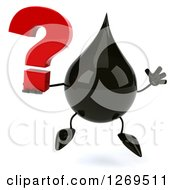 Clipart Of A 3d Oil Drop Character Jumping And Holding A Question Mark Royalty Free Illustration
