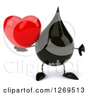 Clipart Of A 3d Oil Drop Character Holding A Heart And Thumb Down Royalty Free Illustration