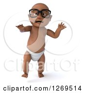 Clipart Of A 3d Bespectacled Black Baby Boy Walking Forward Royalty Free Illustration
