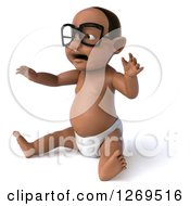 Clipart Of A 3d Bespectacled Black Baby Boy Sitting And Holding Up His Arms Facing Left Royalty Free Illustration