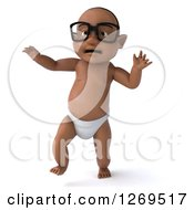 Clipart Of A 3d Bespectacled Black Baby Boy Walking Forward 2 Royalty Free Illustration