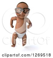 Clipart Of A 3d Bespectacled Black Baby Boy Running Royalty Free Illustration