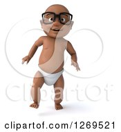 Clipart Of A 3d Bespectacled Happy Black Baby Boy Walking Forward Royalty Free Illustration