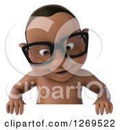 Clipart Of A 3d Bespectacled Black Baby Boy Smiling Down Over A Sign Royalty Free Illustration
