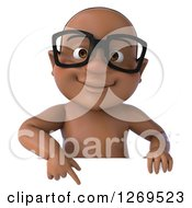 Clipart Of A 3d Bespectacled Black Baby Boy Pointing Down Over A Sign Royalty Free Illustration