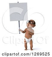 Clipart Of A 3d Bespectacled Black Baby Boy Holding And Pointing Up At A Blank Sign Royalty Free Illustration