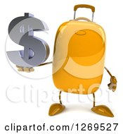 Clipart Of A 3d Yellow Suitcase Character Holding A Dollar Symbol Royalty Free Illustration