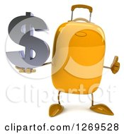 Clipart Of A 3d Yellow Suitcase Character Giving A Thumb Up And Holding A Dollar Symbol Royalty Free Illustration