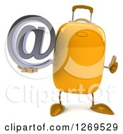 Clipart Of A 3d Yellow Suitcase Character Holding A Thumb Up And An Email Arobase Symbol Royalty Free Illustration