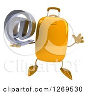 Clipart Of A 3d Yellow Suitcase Character Jumping And Holding An Email Arobase Symbol Royalty Free Illustration