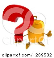 Clipart Of A 3d Yellow Suitcase Character Giving A Thumb Up And Holding A Question Mark Royalty Free Illustration