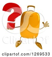 Clipart Of A 3d Yellow Suitcase Character Holding A Question Mark And Jumping Royalty Free Illustration
