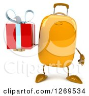 Clipart Of A 3d Yellow Suitcase Character Holding A Gift Royalty Free Illustration
