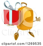 Clipart Of A 3d Yellow Suitcase Character Jumping And Holding A Gift Royalty Free Illustration