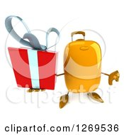 Clipart Of A 3d Yellow Suitcase Character Holding Up A Gift And Thumb Down Royalty Free Illustration