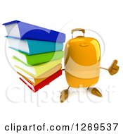 Clipart Of A 3d Yellow Suitcase Character Holding A Thumb Up And A Stack Of Books Royalty Free Illustration