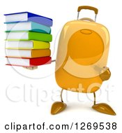 Clipart Of A 3d Yellow Suitcase Character Holding And Pointing To A Stack Of Books Royalty Free Illustration