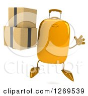 Clipart Of A 3d Yellow Suitcase Character Jumping And Holding Boxes Royalty Free Illustration