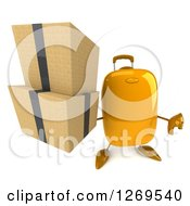 Clipart Of A 3d Yellow Suitcase Character Giving A Thumb Down And Holding Up Boxes Royalty Free Illustration